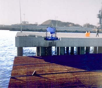 A picture of a lifting station raising the empty shiplift platform.