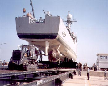 A vessel being towed off the shiplift platform onto a waiting Bardex side transfer carriage.